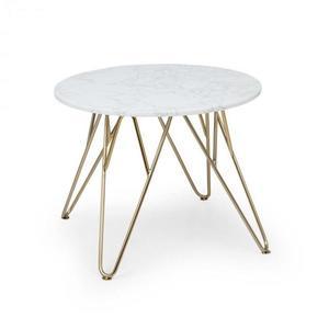 Besoa Round Pearl, dohányzóasztal, 55 x 45 cm (⌀ x V), márvány, arany/fehér kép