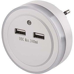 EMOS LED aljzatra szerelt éjjeli fény 2 db USB porttal P3313 kép