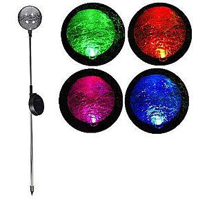 Kerti szoláris LED lámpa Garth – színváltó üveggömb kép