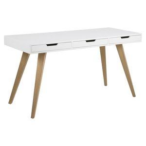 Stílusos íróasztal Natalya 141 cm - fehér kép