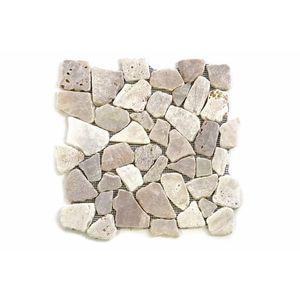 Mozaik burkolat DIVERO® 1m2 - folyami kavics, krémszín kép