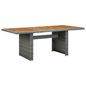 vidaXL sötétszürke polyrattan és tömör akácfa kerti asztal kép