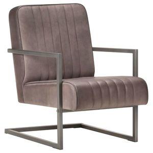 vidaXL barnás-szürke valódi bőr szánkótalpas fotel kép