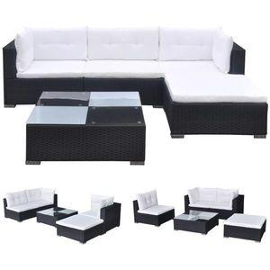 vidaXL 5-részes fekete polyrattan kerti bútorszett párnákkal kép