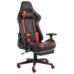 vidaXL piros PVC forgó gamer szék lábtartóval kép