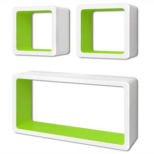 vidaXL 3 db függő szögletes MDF polc / köny, DVD tartó fehér-zöld kép