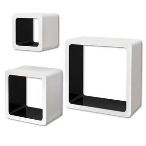 vidaXL 3 db függő szögletes MDF polc / köny, DVD tartó fehér-fekete kép