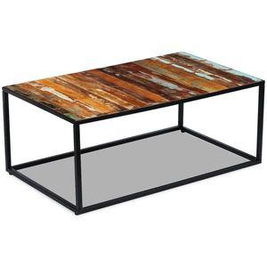 vidaXL tömör újrahasznosított fa dohányzóasztal 100 x 60 x 40 cm kép