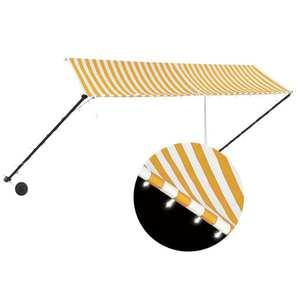 vidaXL feltekerhető sárga és fehér napellenző LED-del 350 x 150 cm kép