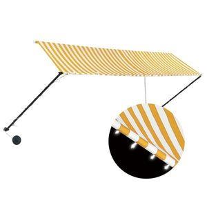 vidaXL feltekerhető sárga és fehér napellenző LED-del 400 x 150 cm kép
