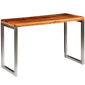vidaXL tömör kelet-indiai rózsafa étkezőasztal / íróasztal acél lábbal kép