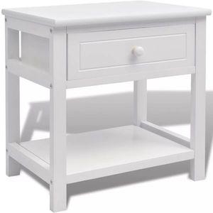 vidaXL fehér, fiókos kisasztal kép