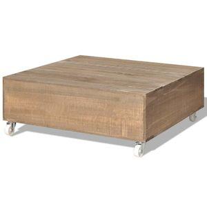 vidaXL tömör fa dohányzóasztal barna kép