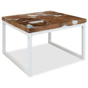 vidaXL gyantázott tíkfa dohányzóasztal 60 x 60 x 40 cm kép