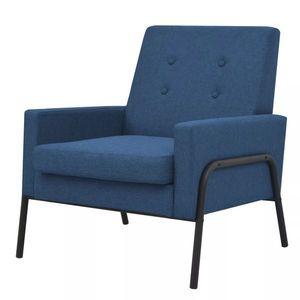vidaXL kék acél és szövet fotel kép