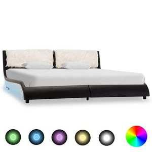 vidaXL fehér és fekete LED-es műbőr ágykeret 180 x 200 cm kép