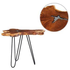 vidaXL tömör tíkfa és műkő dohányzóasztal 70 x 45 cm kép