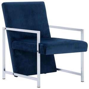 vidaXL kék bársony karosszék króm lábakkal kép