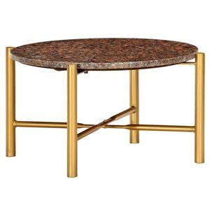 vidaXL barna márvány textúrájú valódi kő dohányzóasztal 60x60x35 cm kép