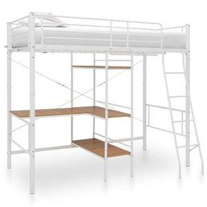 vidaXL fehér fém emeletes ágykeret asztallal 90 x 200 cm kép