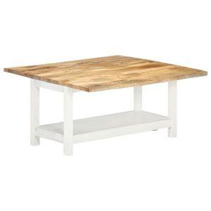 vidaXL fehér tömör mangófa bővíthető dohányzóasztal 90x(45-90)x45 cm kép