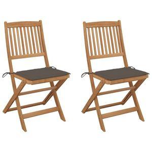 vidaXL 2 db összecsukható tömör akácfa kerti szék párnákkal kép