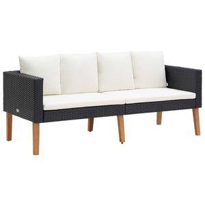 vidaXL kétszemélyes fekete polyrattan kerti kanapé párnákkal kép