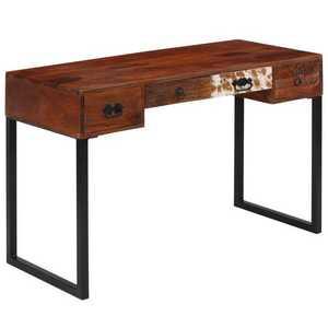 vidaXL tömör kelet-indiai rózsafa és valódi bőr íróasztal 117x50x76 cm kép