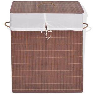 vidaXL barna, téglalap alakú bambusz szennyestartó kosár kép