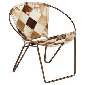 vidaXL barna gyémántmintás valódi bőr szék kép