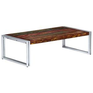 vidaXL újrahasznosított tömör fa dohányzóasztal 120 x 60 x 35 cm kép