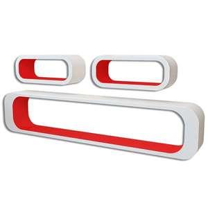 vidaXL 6 db piros és fehér kocka fali polc kép
