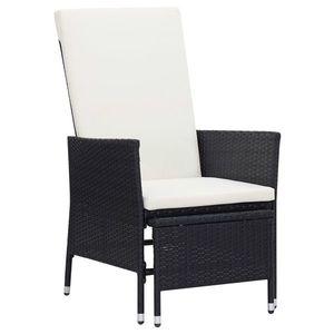 vidaXL fekete dönthető háttámlás polyrattan kerti szék párnákkal kép
