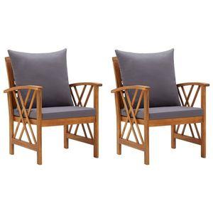 vidaXL 2 db tömör akácfa kerti szék párnákkal kép