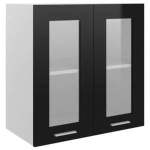 vidaXL fekete forgácslap függő üvegszekrény 60 x 31 x 60 cm kép