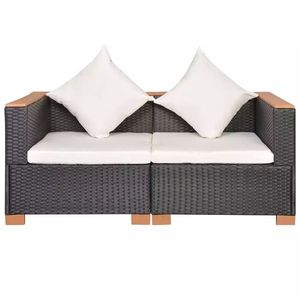 vidaXL fekete polyrattan kerti kanapé kép