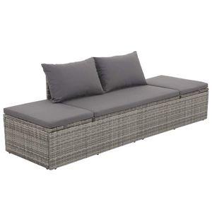 vidaXL szürke polyrattan kerti ágy 195 x 60 cm kép
