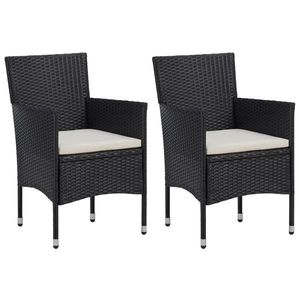 vidaXL 2 db fekete polyrattan kerti szék kép