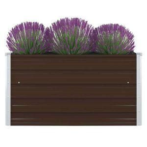 vidaXL barna horganyzott acél kerti magaságyás 100 x 100 x 45 cm kép