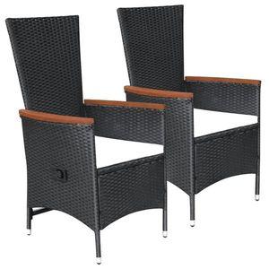 vidaXL 2 db fekete polyrattan kültéri szék párnával kép