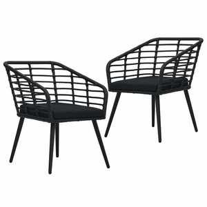 vidaXL 2 db fekete polyrattan kerti szék párnával kép