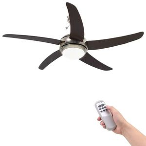 vidaXL díszes mennyezeti ventilátor lámpával 128 cm barna kép