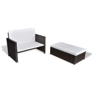 vidaXL barna kerti polyrattan kanapé kép