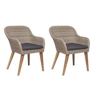 vidaXL 2 db barna polyrattan kültéri szék párnával kép