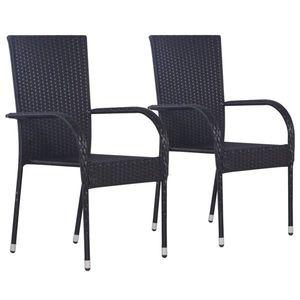 vidaXL 2 db fekete rakásolható polyrattan kültéri szék kép