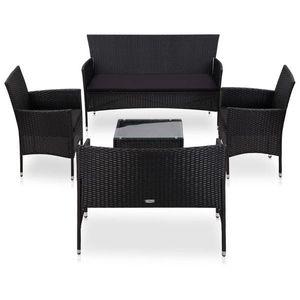vidaXL 5 részes fekete polyrattan kerti bútorszett párnákkal kép