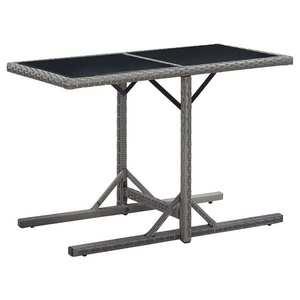 vidaXL antracitszürke polyrattan és üveglapos kerti asztal 110x53x72cm kép