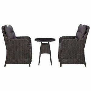 vidaXL 2 db fekete polyrattan kerti szék teázóasztallal kép