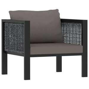 vidaXL antracitszürke elemes polyrattan kanapé párnával kép