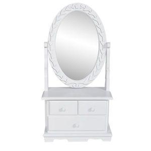 vidaXL MDF pipereasztal ovális tükörrel kép